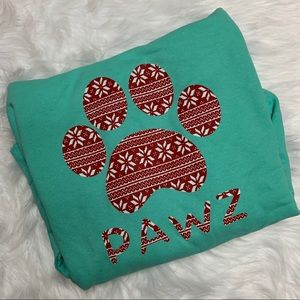 BRAND NEW PAWZ HOODIE MINT GREEN & RED NWOT
